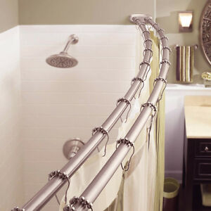 details about adjustable double curved shower curtain rod crescent bathtub satin nickel