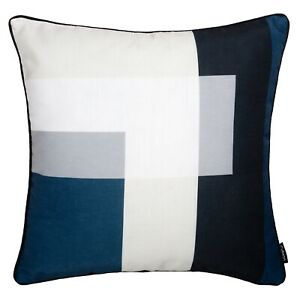 details about geometric cushion navy blue cream grey cover top throw pillow case sofa 45cm 18