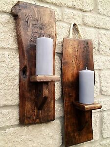PAIR HANDMADE RECLAIMED RUSTIC WOOD WALL MOUNTED PILLAR ... on Wall Mounted Candle Sconce id=60805