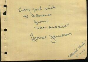 House Jameson Autographed Album Page Page Legendary Radio ...