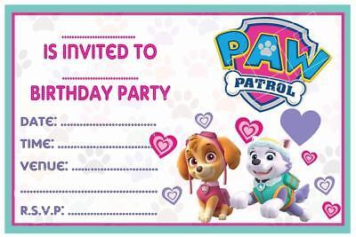1 x paw patrol childrens girls skye blank diy birthday invitations magnets ebay