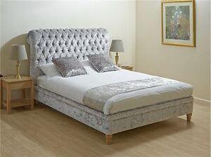 Image Is Loading Crushed Velvet Bed Frame 5ft King Size Bedstead