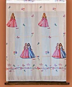 details sur rideau voilage chambre fille barbie princesse largeur 122cm