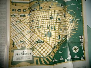 CARTOON MAP SAN FRANCISCO CA WELCOME MAP BAY AREA 1951   eBay Image is loading CARTOON MAP SAN FRANCISCO CA WELCOME MAP BAY