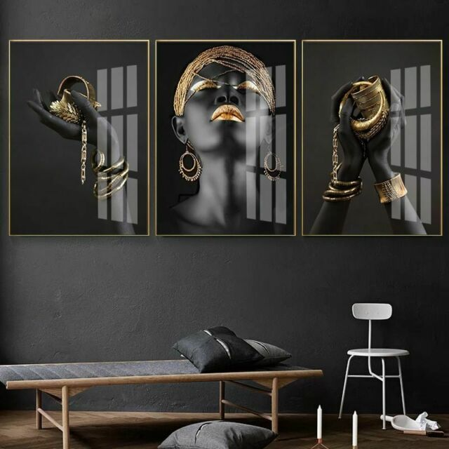 black and gold woman canvas painting posters and prints wall art picture home