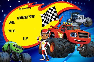 boy girl blaze and the monster machines birthday party invites b1 ebay