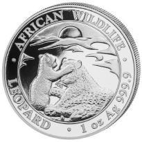 Somalia 1 oz. Unze Silber 999,9 Somalia Leopard Silbermünze 2019 -Originalkapsel