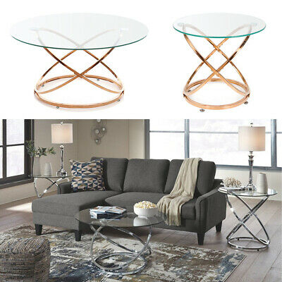 modern round clear glass coffee table sofa side tables lamp stand living room uk ebay