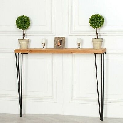 Industrial Style Narrow Rustic Wooden Hairpin Hall Table Console Ebay