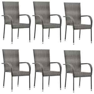 details about vidaxl 6x stackable outdoor chairs grey poly rattan patio garden dining seat