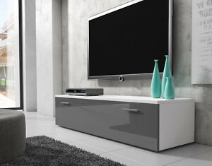 details about tv unit cabinet stand boston body white front grey high gloss 150 cm