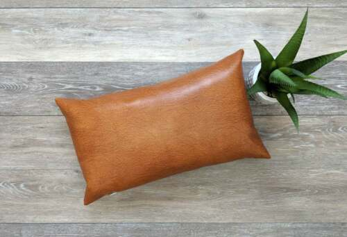 genuine leather tan color lumbar pillow cover cushion cover home decor indian south asian home decor pillows