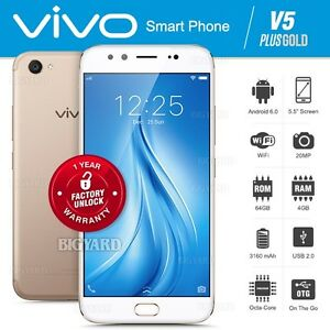 "Unlocked VIVO V5 Plus Gold 5.5"" IPS LCD Dual Front Camera 4G Android Cell Phone"