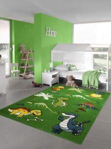 details sur tapis enfant tapis dinosaure pepiniere jungle volcan en vert