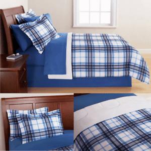 details about queen bedding sets for boys men teens blue plaid reversible comforter 7pcs new