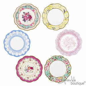 Un'idea originale, trendy ed elegante!. Vintage Shabby Chic Piatti Di Carta Tea Party Full Davvero Eccezionale Gamma In Negozio Ebay