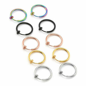 Edelstahl Nasenpiercing Fake Septum Spring Ring Piercing Lippen Ohrstecker Set