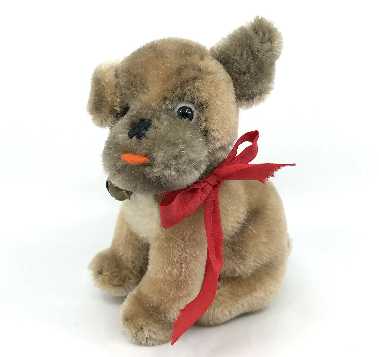Steiff Mopsy Dog sitting Mohair Plush 12cm 5in 1960s no ID Jingle Bell Vintage