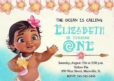 moana baby first birthday one year birthday party invitation ebay