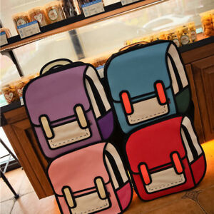 3D Jump Style 2D Drawing From Cartoon Paper Backpack Comic Bookbag Fashion Girls