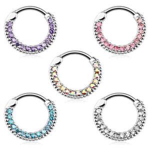 Nasenpiercing Schmuck Ring Strass Kristall Septum Clicker Helix Ohr Piercing
