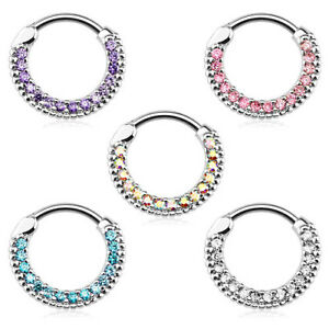 Nasenpiercing Schmuck Ring Strass Kristall Septum Clicker Helix Ohr Piercing