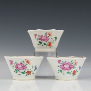 Nice set of 3 Chinese Famille rose octagonal tea cups, Qianlong.