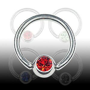 1,2mm Titan Klemm Ring m Kristall Kugel Ohr Tragus Helix Lippen Brust Piercing