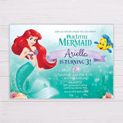 little mermaid invitation little mermaid birthday invitation printable digital ebay