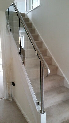 Staircase Re Style In Stainless Steel And Glass With White | White And Glass Staircase | Before And After | American White Oak | Luxurious | High End Glass | White Handrail Treads