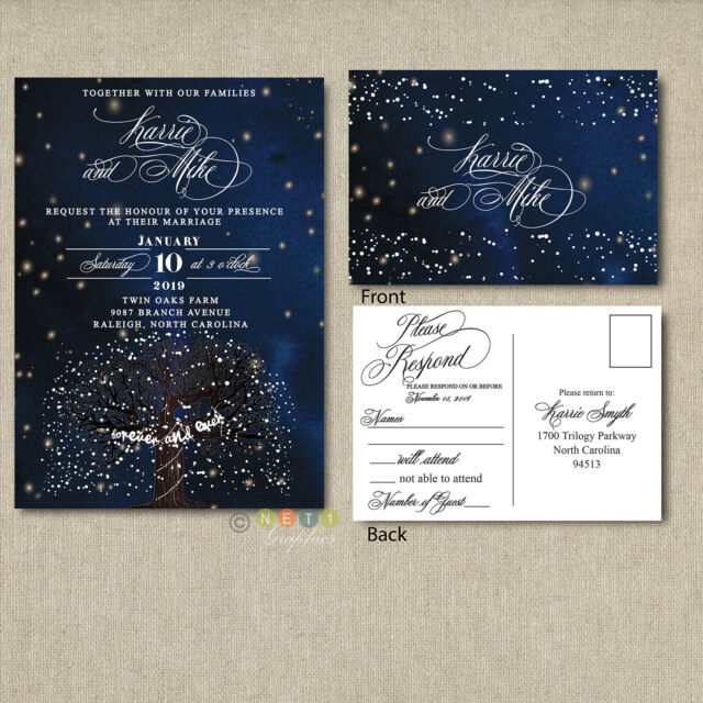 Wedding Invitation Set Suite Starry Night And Snowflake With Rsvp Post Card