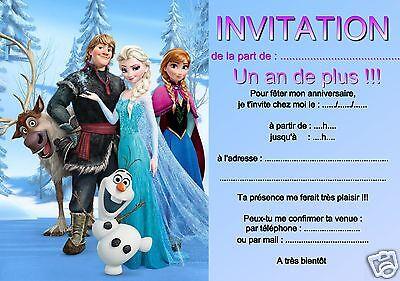 5 ou 12 cartes invitation anniversaire reine des neiges ref 313