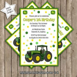 details about tractor john deere personalised birthday party invitation x 1