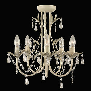 Image Is Loading Glass Crystal Chandelier Pendant 5 Light Chic French