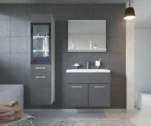 details sur meuble de salle de bain rio led 60 cm lavabo gris brillant armoire de rangemen