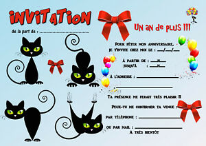 details sur 5 12 ou 14 cartes invitation anniversaire chat ref 413