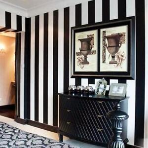 Dettagli Su Usa 10m Carta Da Parati Nero Bianco A Righe Verticali Casa Moderno Moda Pvc