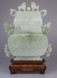 Huge Antique Chinese Carved Serpentine Vase Cover Wood Stand 19th C. Qing