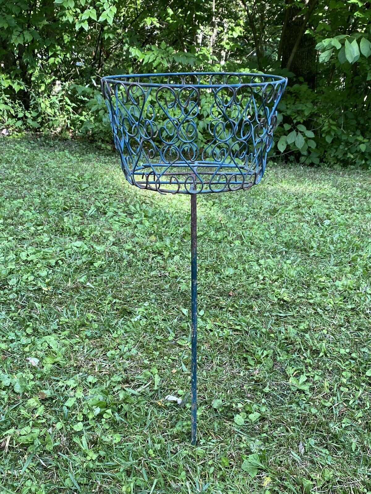 Vintage Metal Plant Stand With Stake Stand Alone Mid Century Modern 25 For Sale Online
