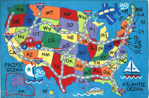 Learn the locations, abbreviations, names and shapes of all fifty us states of the u.s.a. 3x5 Educational Rug Usa Travel Map States Initials Kids Play Road Kid America Ebay