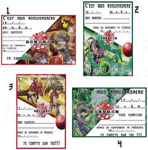 details sur carte invitation anniversaire bakugan