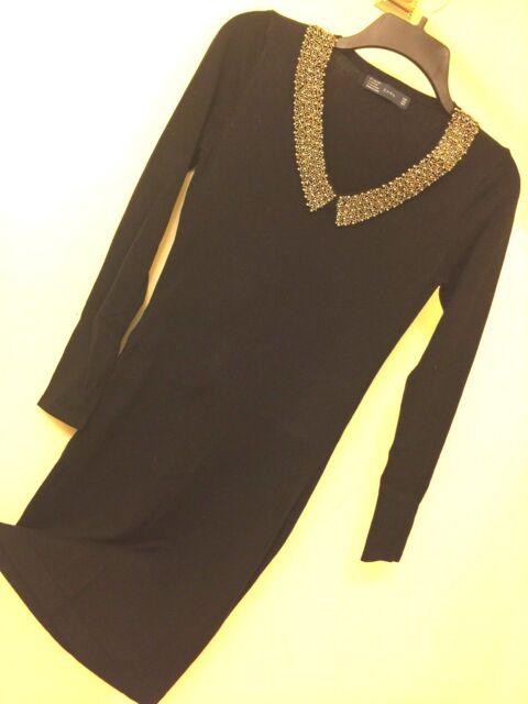 Zara Knit Dress With Beaded Collar | eBay