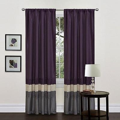 new lush decor mia window curtain panel pair 54 inch by 84 inch gray purple ebay