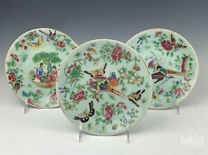 Lot 3 Chinese Export Celadon Rose Medallion Porcelain Butterfly Bird Plates HTP