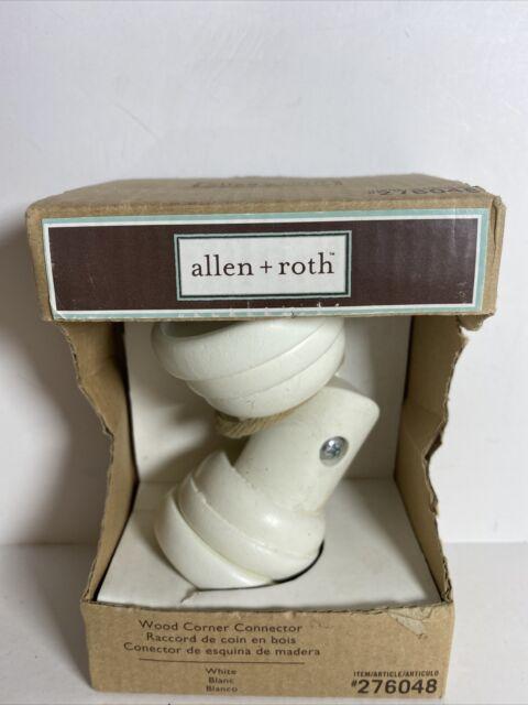 allen roth white wood curtain rod corner connector item276048 upc680656114223