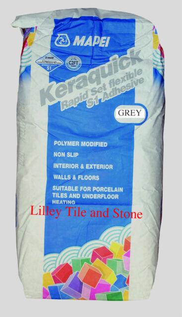 mapei keraquick grey flexible rapid set tile adhesive 20kg walls and floors