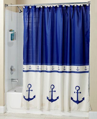 home garden nautical blue ship anchor bathroom collection shower curtain hooks sink set rug bath accessory sets