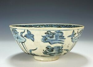 Large Antique Chinese Porcelain Bowl with Ducks and Lotus - Ming