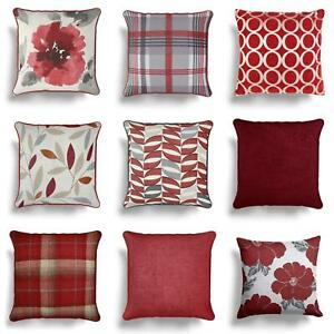 details about red cushion covers wine burgundy sofa throw filled cushions cover 17 18