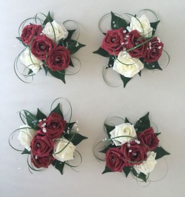 4 X Flowers Burgundy Ivory Wedding Cake Topper Table Decoration Bowl     4 X FLOWERS BURGUNDY IVORY WEDDING CAKE TOPPER TABLE DECORATION BOWL  CENTREPIECE